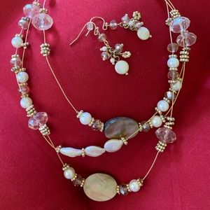 light pink and pearl stone necklace and earrings